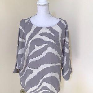 NWT! LOFT Size LP grey combo crew neck blouse